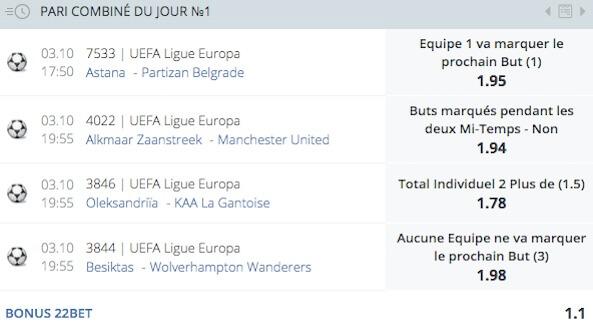 pari combiné du jour ligue europa 22bet