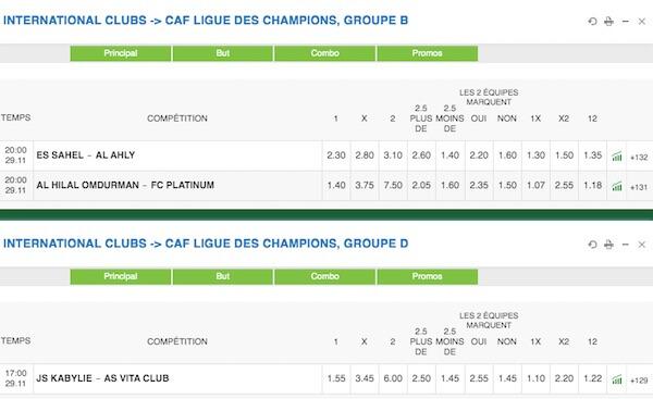 paris sportif caf ligue des champions 2019