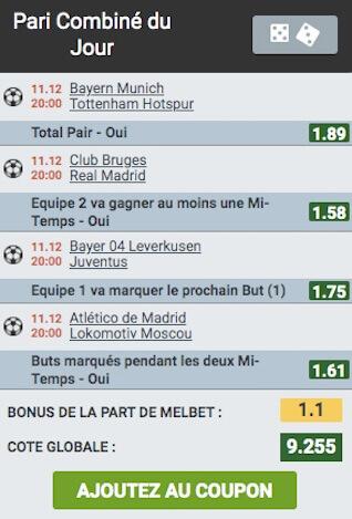 melbet champions league paris combiné
