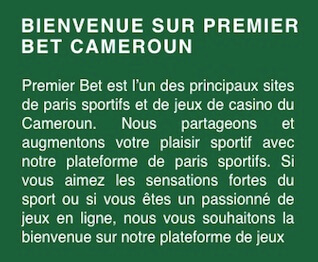 cameroun premier bet inscription