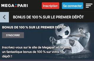 100% jusqu'à 100 euros bonus megapari