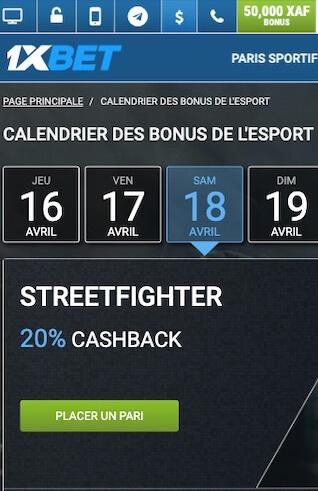 cashback 20% 1xbet streetfighter