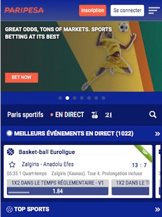 paripesa menu paris sportif