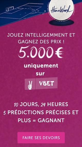 vbet cagnotte devoir 5000 euros
